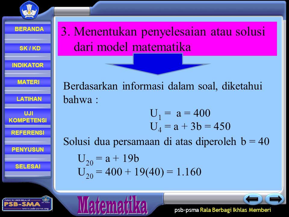3. Menentukan penyelesaian atau solusi dari model matematika