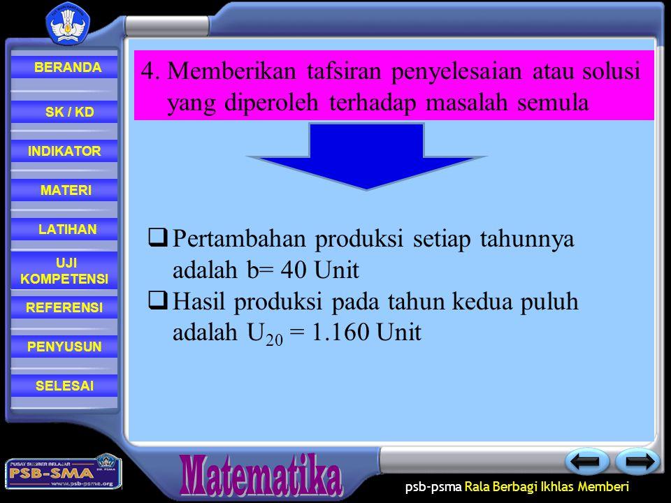4. Memberikan tafsiran penyelesaian atau solusi yang diperoleh terhadap masalah semula