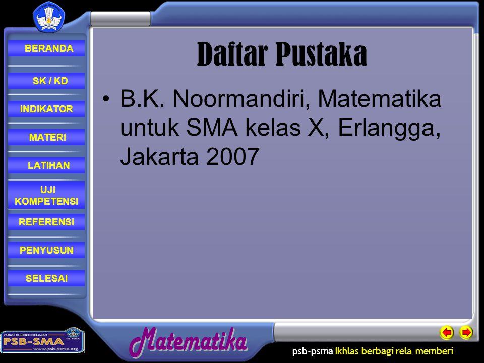 Daftar Pustaka SK / KD. B.K. Noormandiri, Matematika untuk SMA kelas X, Erlangga, Jakarta 2007. INDIKATOR.