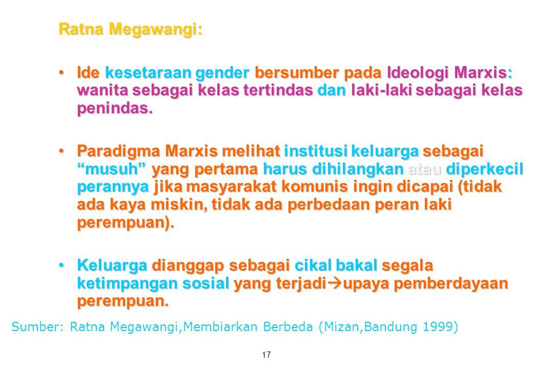 Ratna Megawangi: Ide kesetaraan gender bersumber pada Ideologi Marxis: wanita sebagai kelas tertindas dan laki-laki sebagai kelas penindas.