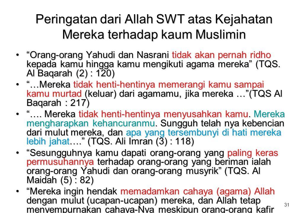 Peringatan dari Allah SWT atas Kejahatan Mereka terhadap kaum Muslimin
