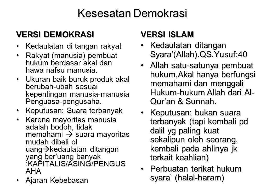Kesesatan Demokrasi VERSI DEMOKRASI VERSI ISLAM