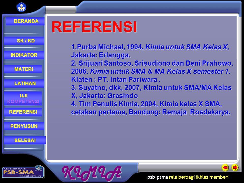 REFERENSI 1.Purba Michael, 1994, Kimia untuk SMA Kelas X, Jakarta: Erlangga.