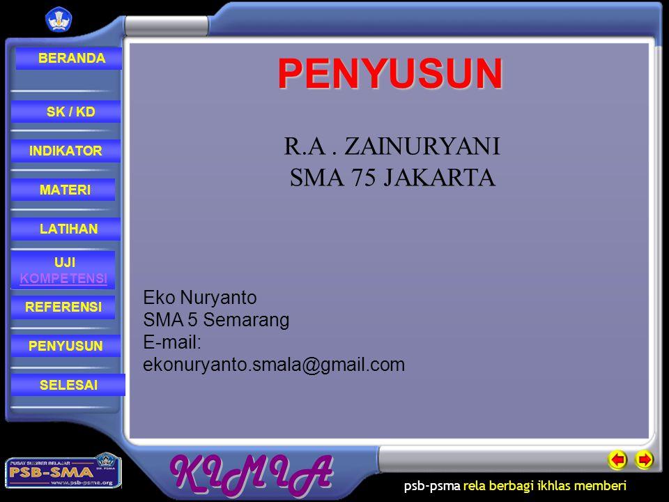 PENYUSUN R.A . ZAINURYANI SMA 75 JAKARTA Eko Nuryanto SMA 5 Semarang