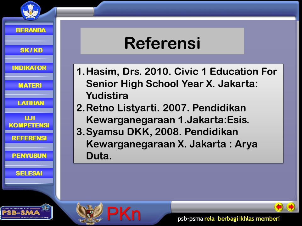 Referensi Hasim, Drs. 2010. Civic 1 Education For Senior High School Year X. Jakarta: Yudistira.