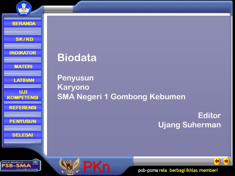 Biodata Penyusun Karyono SMA Negeri 1 Gombong Kebumen Editor