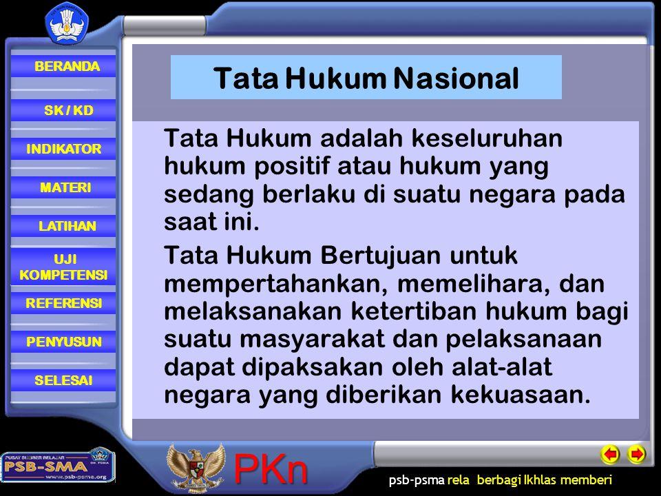 Tata Hukum Nasional Tata Hukum adalah keseluruhan hukum positif atau hukum yang sedang berlaku di suatu negara pada saat ini.