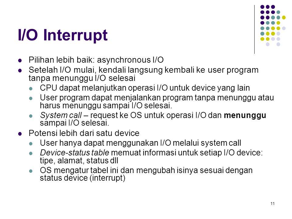 I/O Interrupt Pilihan lebih baik: asynchronous I/O