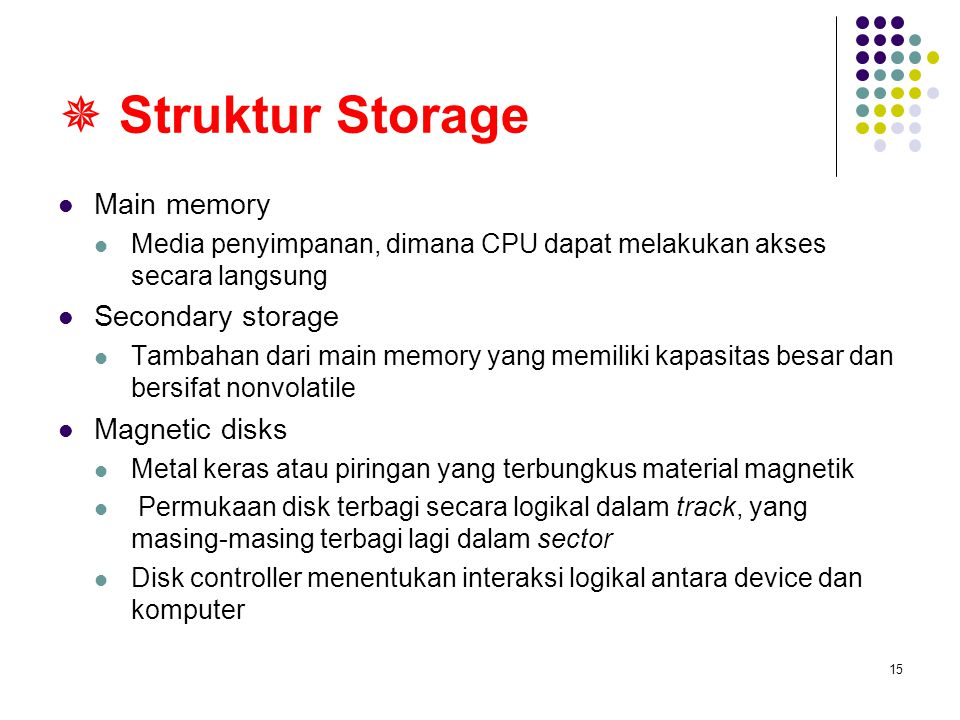  Struktur Storage Main memory Secondary storage Magnetic disks