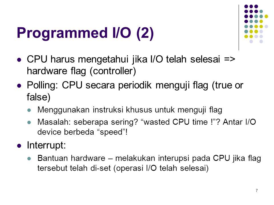 Programmed I/O (2) CPU harus mengetahui jika I/O telah selesai => hardware flag (controller)
