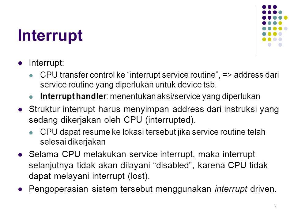 Interrupt Interrupt: CPU transfer control ke interrupt service routine , => address dari service routine yang diperlukan untuk device tsb.