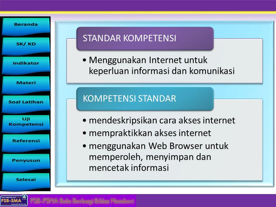STANDAR KOMPETENSI Menggunakan Internet untuk keperluan informasi dan komunikasi. KOMPETENSI STANDAR.