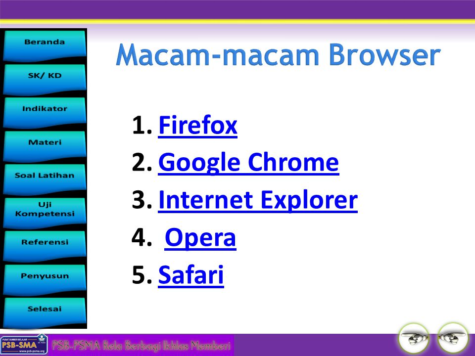 Macam-macam Browser Firefox Google Chrome Internet Explorer Opera