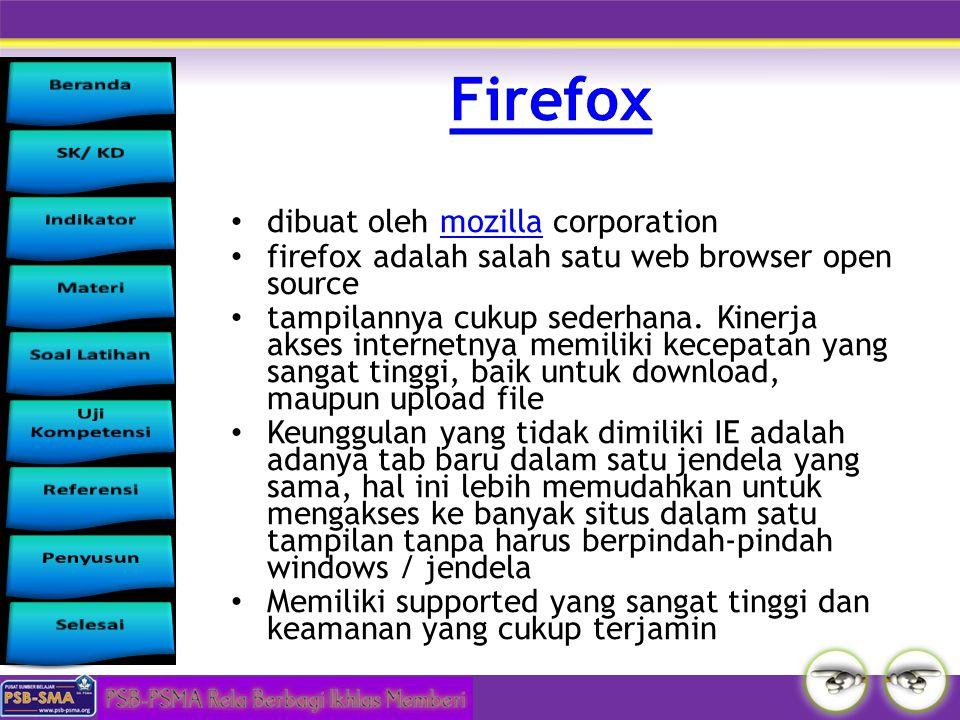Firefox dibuat oleh mozilla corporation