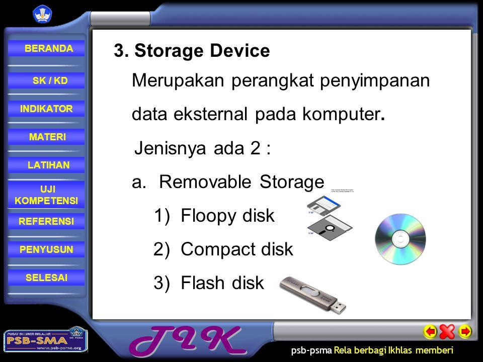 3. Storage Device Merupakan perangkat penyimpanan data eksternal pada komputer. Jenisnya ada 2 : Removable Storage.