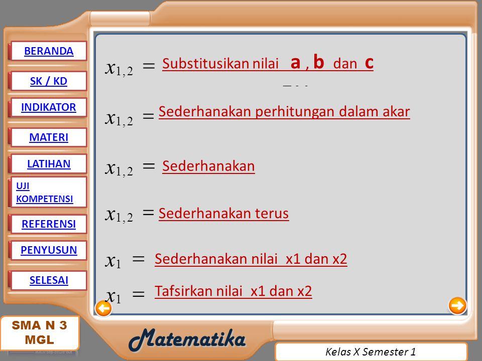 2 4. 6. 36. 32. 1. . ) 8. )( ( , - = + ± x. atau. Substitusikan nilai a , b dan c.