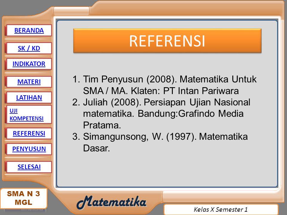 BERANDA REFERENSI. SK / KD. INDIKATOR. Tim Penyusun (2008). Matematika Untuk SMA / MA. Klaten: PT Intan Pariwara.