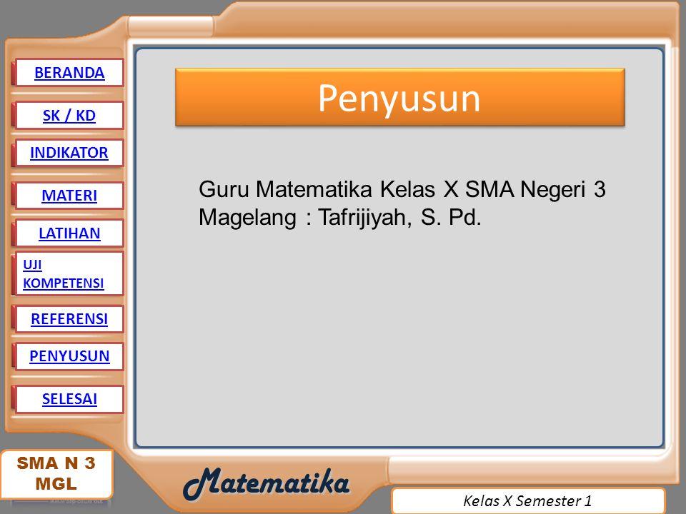 BERANDA Penyusun. SK / KD. INDIKATOR. Guru Matematika Kelas X SMA Negeri 3 Magelang : Tafrijiyah, S. Pd.
