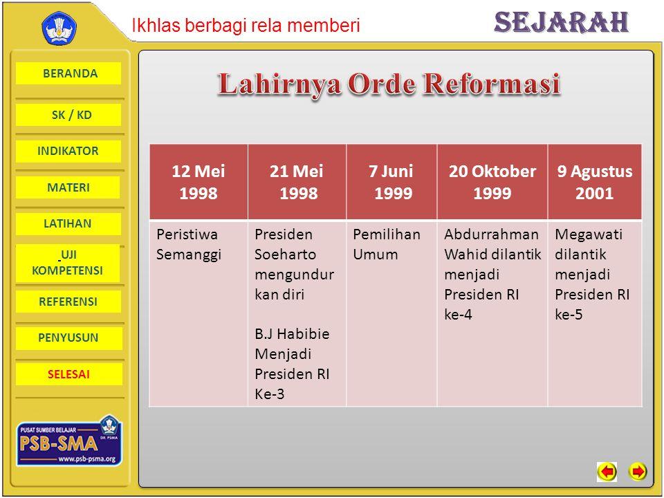 Lahirnya Orde Reformasi