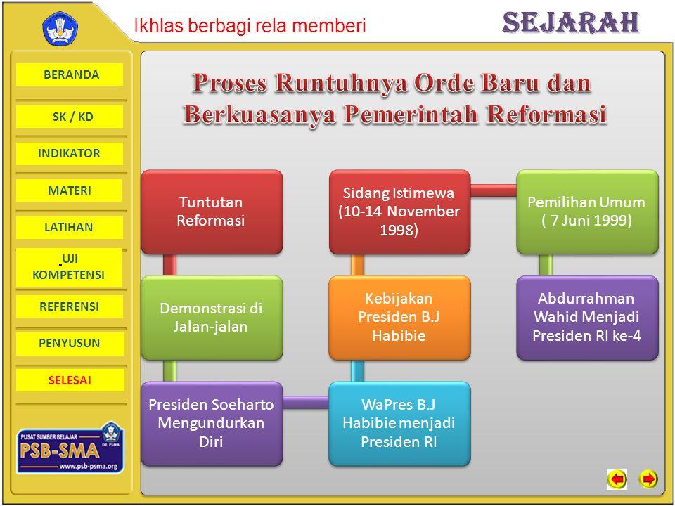 Proses Runtuhnya Orde Baru dan Berkuasanya Pemerintah Reformasi