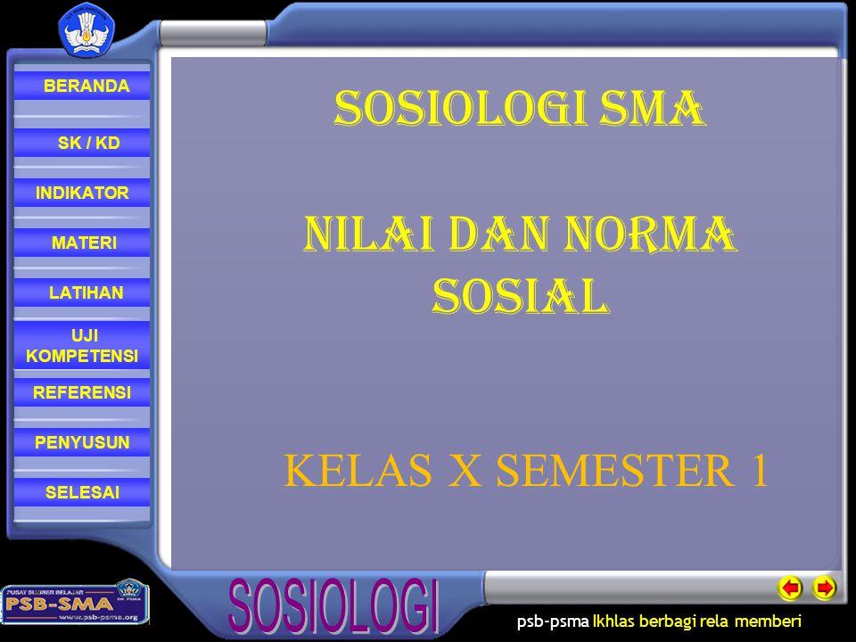 SOSIOLOGI SMA Nilai dan norma sosial KELAS X SEMESTER 1