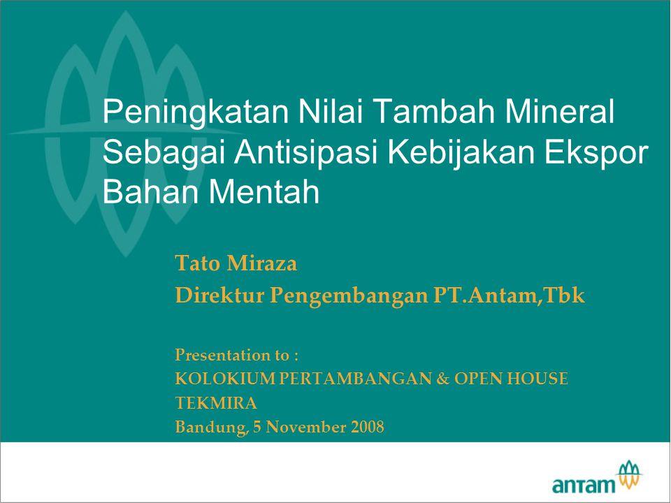 Peningkatan Nilai Tambah Mineral Sebagai Antisipasi Kebijakan Ekspor Bahan Mentah