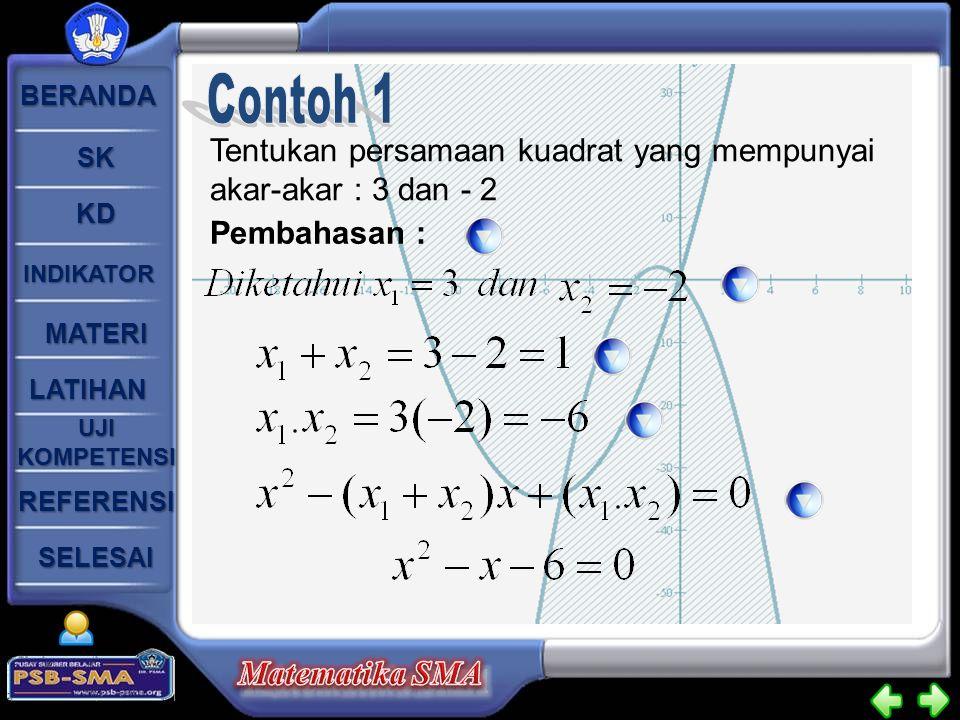 Contoh 1 Tentukan persamaan kuadrat yang mempunyai akar-akar : 3 dan - 2 Pembahasan :