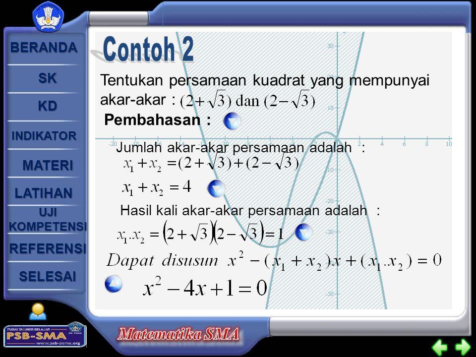 Contoh 2 Tentukan persamaan kuadrat yang mempunyai akar-akar :