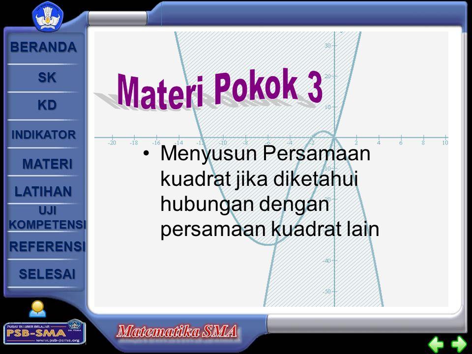 Materi Pokok 3 Menyusun Persamaan kuadrat jika diketahui hubungan dengan persamaan kuadrat lain