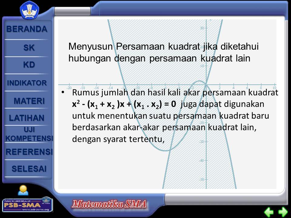 Menyusun Persamaan kuadrat jika diketahui hubungan dengan persamaan kuadrat lain