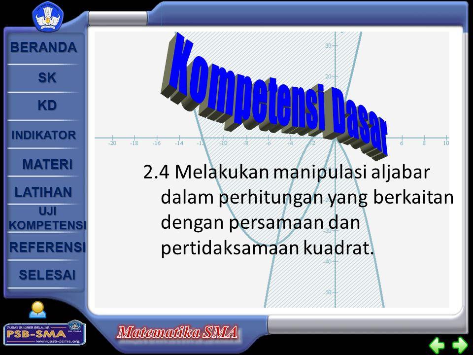 Kompetensi Dasar 2.4 Melakukan manipulasi aljabar dalam perhitungan yang berkaitan dengan persamaan dan pertidaksamaan kuadrat.