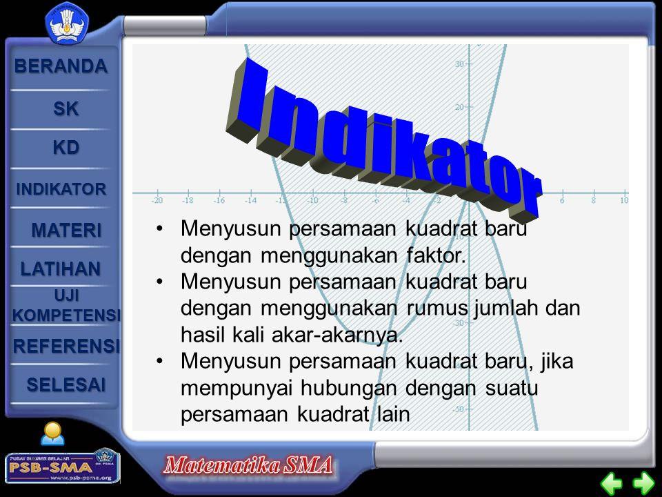 Indikator Menyusun persamaan kuadrat baru dengan menggunakan faktor.