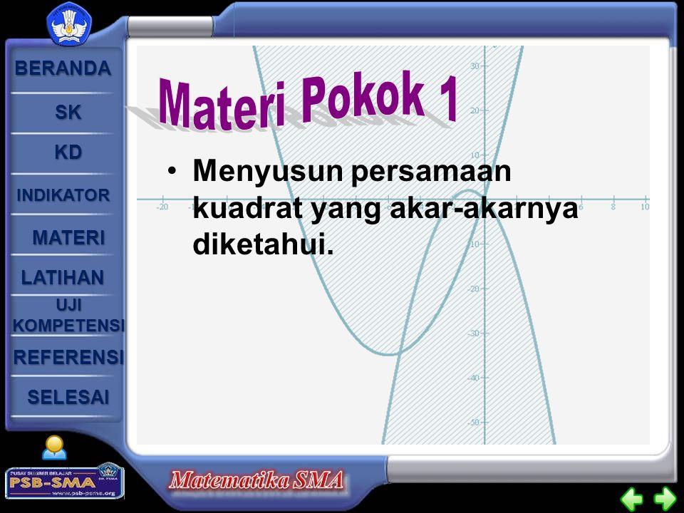 Materi Pokok 1 Menyusun persamaan kuadrat yang akar-akarnya diketahui.