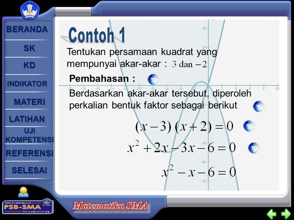Contoh 1 Tentukan persamaan kuadrat yang mempunyai akar-akar :