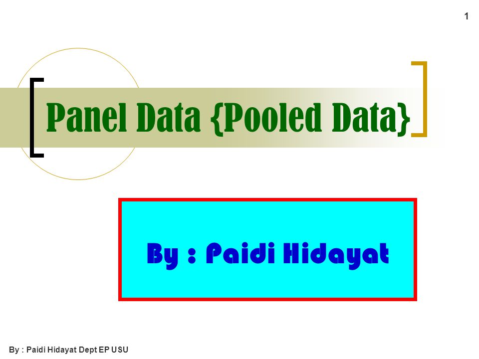 Panel Data {Pooled Data}