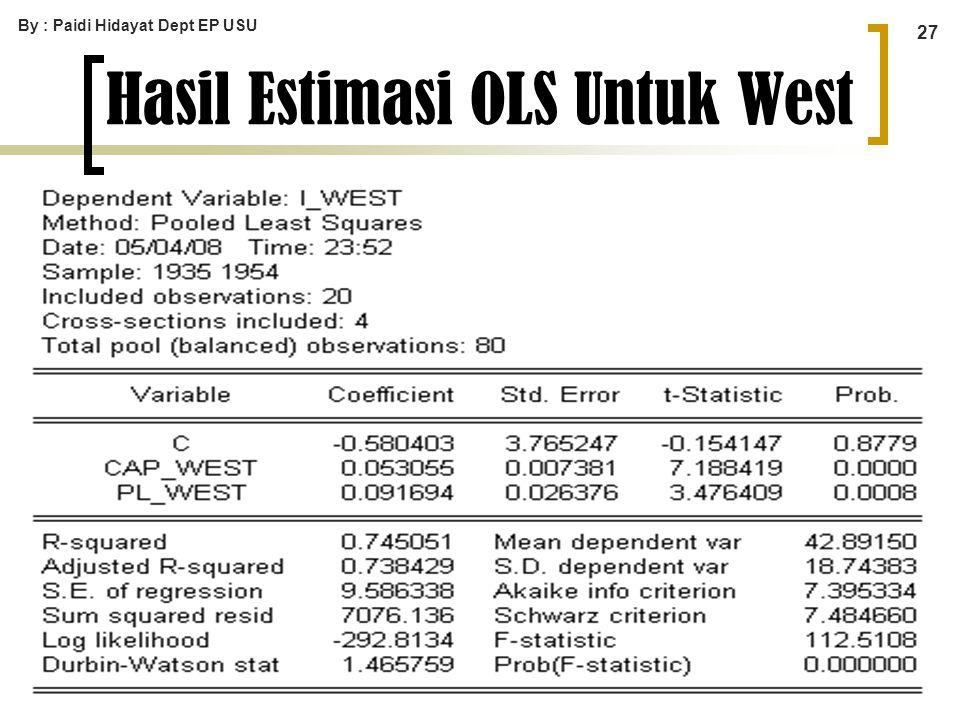 Hasil Estimasi OLS Untuk West