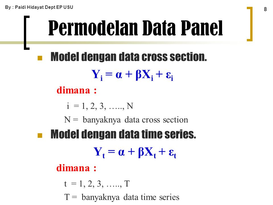 Permodelan Data Panel Yi = α + βXi + εi dimana : Yt = α + βXt + εt
