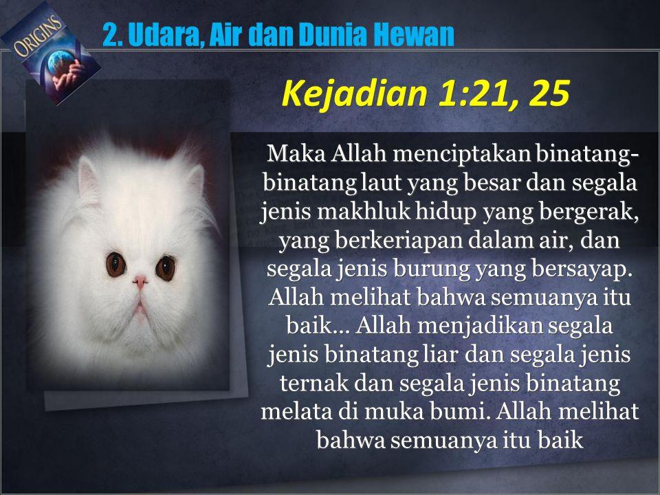 Kejadian 1:21, 25 2. Udara, Air dan Dunia Hewan