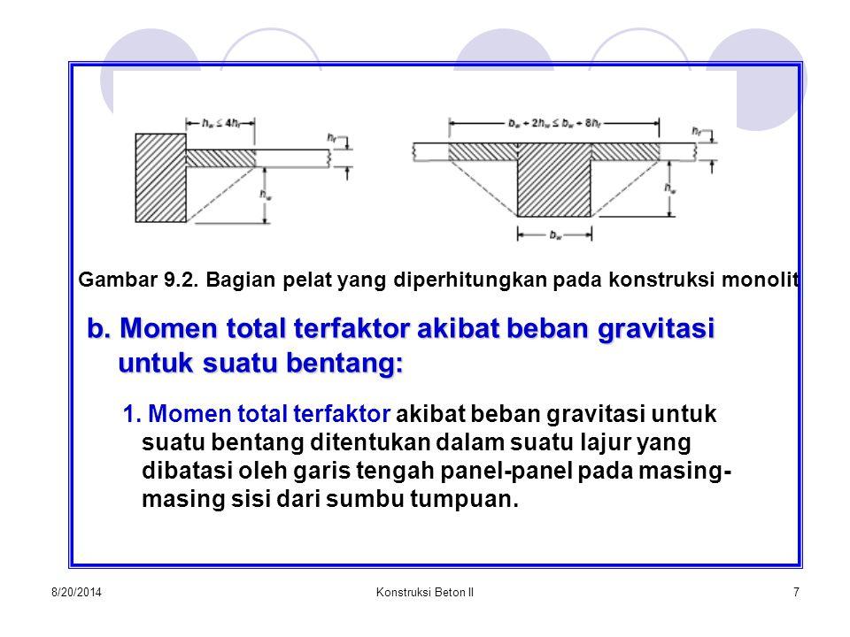 Gambar 9.2. Bagian pelat yang diperhitungkan pada konstruksi monolit