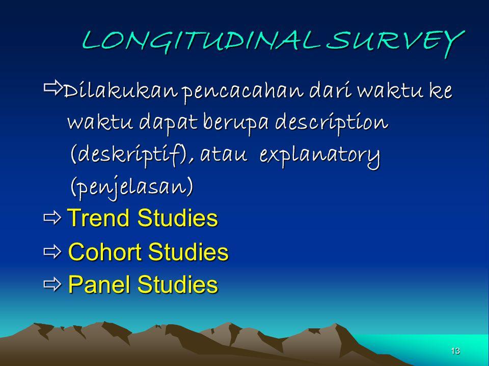 LONGITUDINAL SURVEY Dilakukan pencacahan dari waktu ke