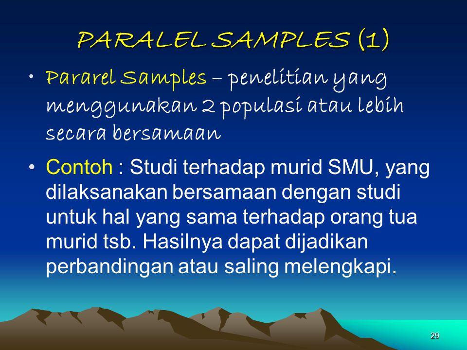 PARALEL SAMPLES (1) Pararel Samples – penelitian yang menggunakan 2 populasi atau lebih secara bersamaan.