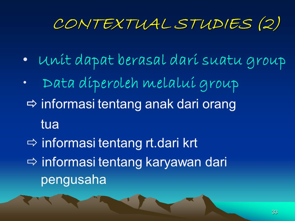 CONTEXTUAL STUDIES (2) Data diperoleh melalui group