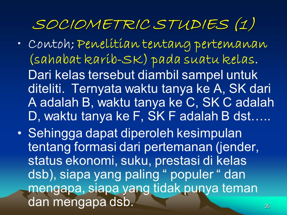SOCIOMETRIC STUDIES (1)