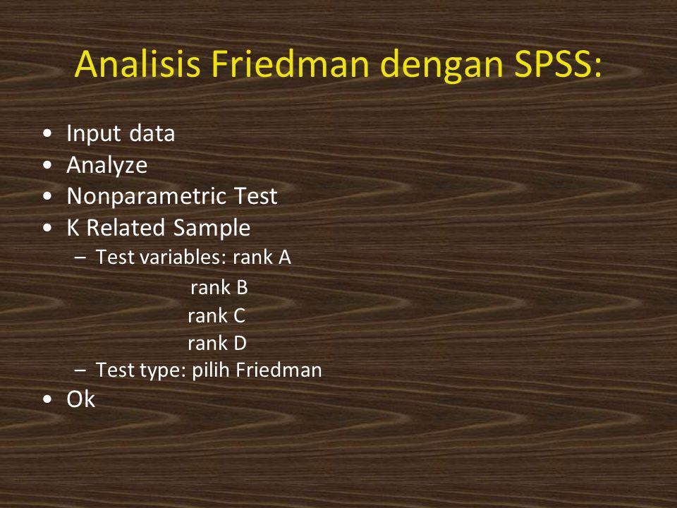 Analisis Friedman dengan SPSS: