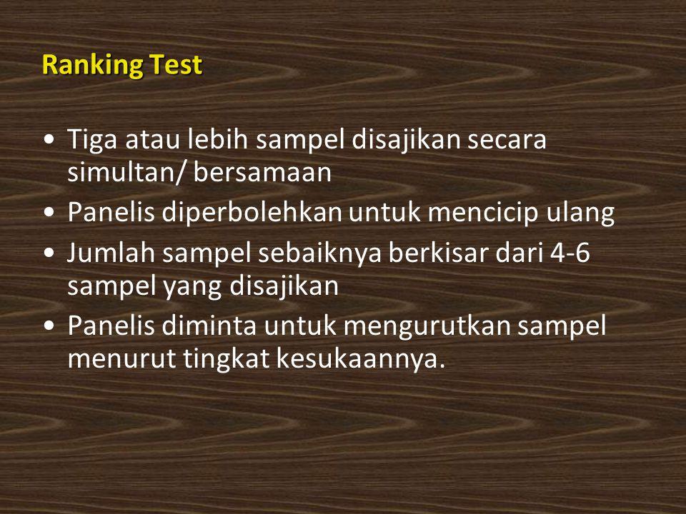 Ranking Test Tiga atau lebih sampel disajikan secara simultan/ bersamaan. Panelis diperbolehkan untuk mencicip ulang.