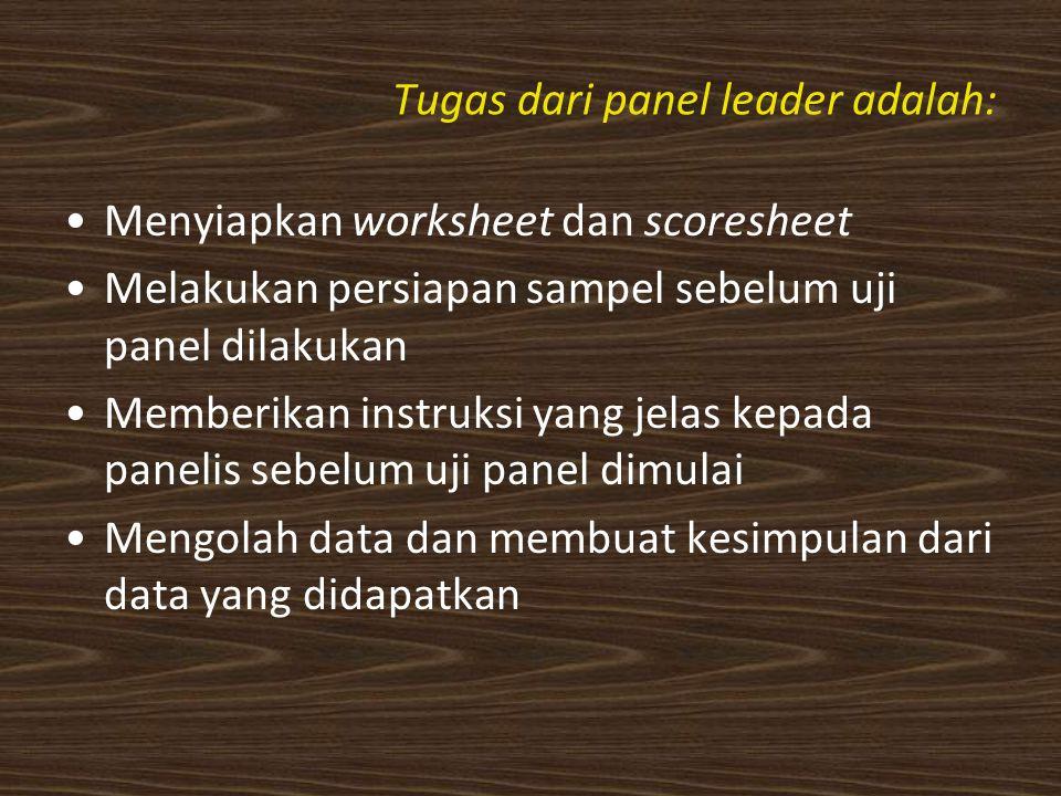 Tugas dari panel leader adalah:
