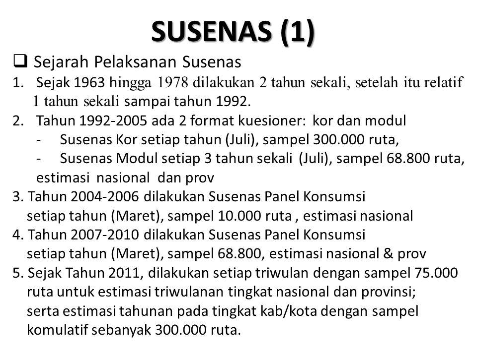SUSENAS (1) Sejarah Pelaksanan Susenas