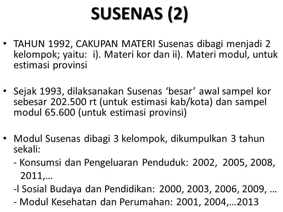 SUSENAS (2) TAHUN 1992, CAKUPAN MATERI Susenas dibagi menjadi 2 kelompok; yaitu: i). Materi kor dan ii). Materi modul, untuk estimasi provinsi.