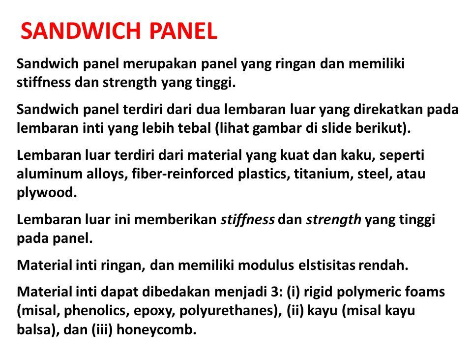 SANDWICH PANEL Sandwich panel merupakan panel yang ringan dan memiliki stiffness dan strength yang tinggi.