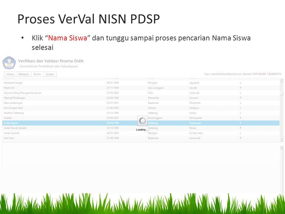 Proses VerVal NISN PDSP